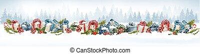 coloridos, presente, boxes., fundo, feriado, natal, vector.