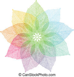coloridos, primavera, folhas, vetorial