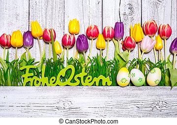 coloridos, primavera, tulips, com, ovos páscoa