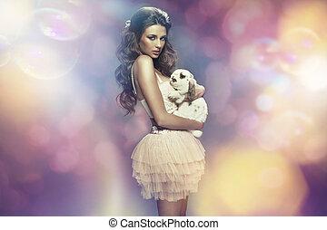 coloridos, quadro, de, a, mulher jovem, com, um, animal estimação