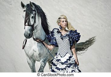 coloridos, quadro, de, a, senhora, com, cavalo