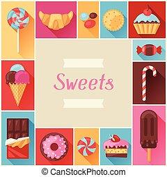 coloridos, quadro, doce, doces, vário, cakes.