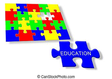 coloridos, quebra-cabeça, educação