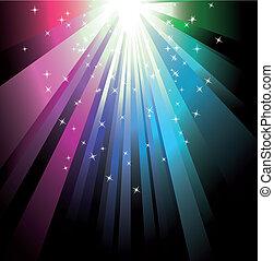 coloridos, raio, luzes
