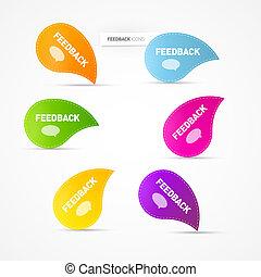 coloridos, realimentação, ícones