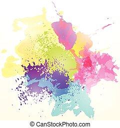 coloridos, respingo tinta, abstratos, experiência., vetorial