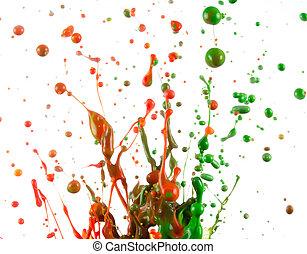 coloridos, respingo tinta