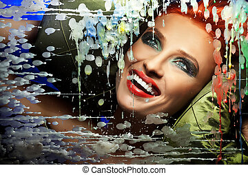coloridos, retrato, de, um, deslumbrante, mulher, com, sorrizo