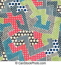 coloridos, retro, têxtil, seamless, padrão