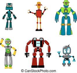 coloridos, robôs, seis, isolado, branca, caricatura