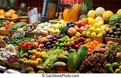 coloridos, série, legumes,  -, fruta, Vário, frutas, fresco, mercado