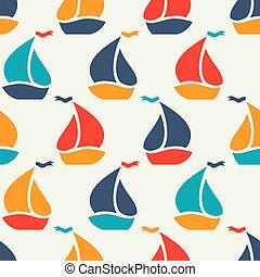 coloridos, sailboat, seamless, forma, vetorial, padrão