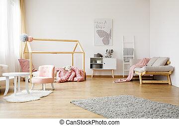 coloridos, sala, crianças