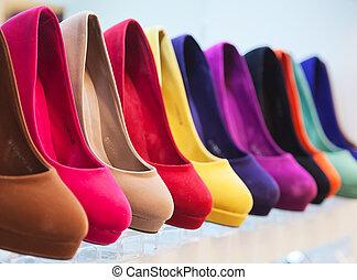 coloridos, sapatos, couro