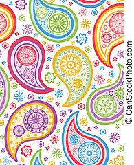 coloridos, seamless, paisley, pattern.