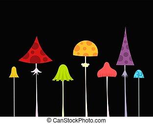 coloridos, selvagem, floresta, cogumelos