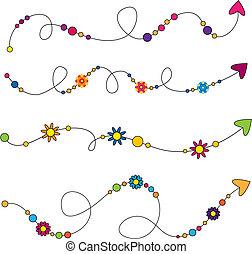 coloridos, setas, com, flores, e, círculos
