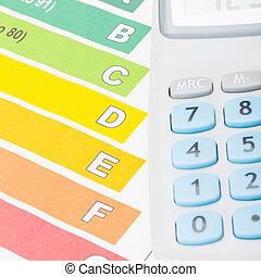 coloridos, sobre, aquilo, mapa, eficiência, limpo, energia, calculadora