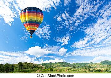 coloridos, sobre, ar, campo, quentes, balão verde