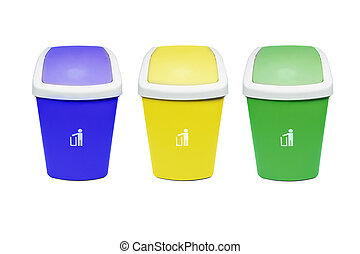 coloridos, sobre, isolado, fundo, recicle, branca, caixas