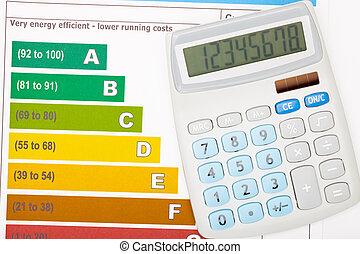 coloridos, sobre, mapa, eficiência, energia, calculadora