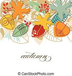 coloridos, sobre, outono, fundo, folhas, branca, queda