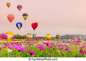 coloridos, sobre, voando, pôr do sol, cosmos, flores, balões, quente-ar