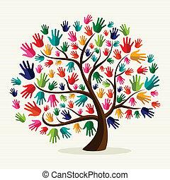coloridos, solidariedade, mão, árvore