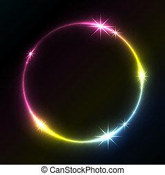 coloridos, space., glowing, vetorial, fundo, círculo, cópia
