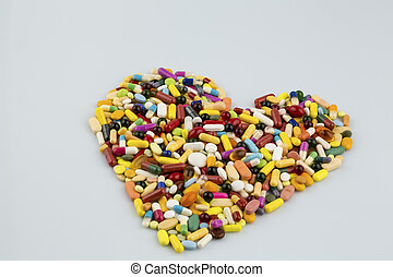 coloridos, tabuletas, em, forma coração