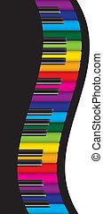 coloridos, teclas, ilustração, ondulado, piano, borda