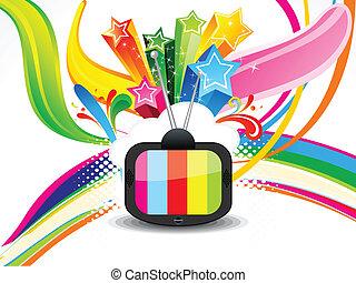 coloridos, televisão, abstratos