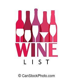 coloridos, template., icon., álcool, barzinhos, garrafa, conceito, abstratos, vetorial, desenho, menu, bebidas, partido, celebração, vidro, holidays., vinho, logotipo