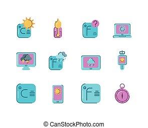 coloridos, tempo, desenho, estilo, jogo, ícone, apartamento