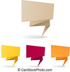 coloridos, texto, aqui, polygonal, banners., lugar, origami...
