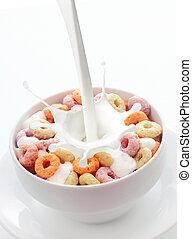 coloridos, tigela, fruta, cereal, voltas, pequeno almoço