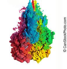 coloridos, tintas, em, água