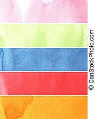 coloridos, tintas, textura, aquarela, papel, áspero