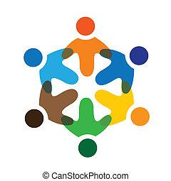 coloridos, tocando, conceitos, comunidade, tocando, amizade, empregado, vetorial, crianças, &, escola, uniões, diversidade, representa, compartilhar, icons(signs)., trabalhador, crianças, ilustração, graphic-, semelhante, conceito, etc