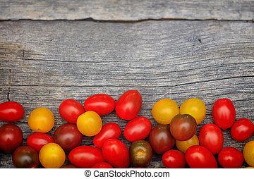 coloridos, tomates, madeira, cereja, superfície,  copy-space