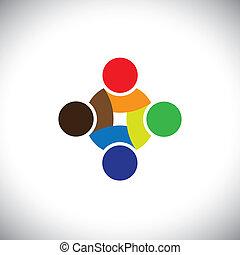 coloridos, trabalhando, &, pessoas, símbolos, desenho, equipe, cooperar