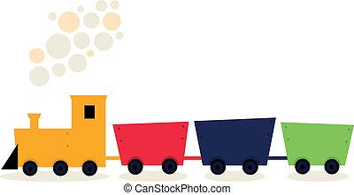 coloridos, trem, em, fresco, cores, isolado, branco