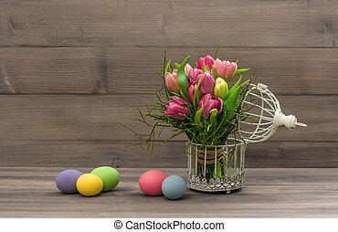 coloridos, tulipa, flores, e, ovos páscoa