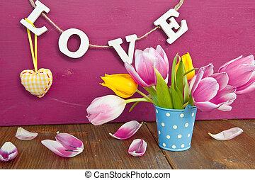 coloridos, tulips, em, um, pequeno, balde