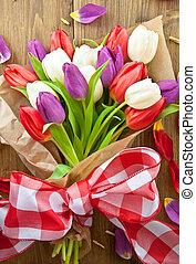 coloridos, tulips, para, páscoa
