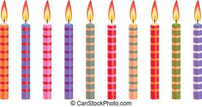 coloridos, velas aniversário