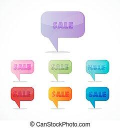 coloridos, venda, ícones