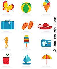 coloridos, verão, ícones