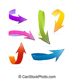 coloridos, vetorial, 3d, setas, jogo, isolado, branco, fundo