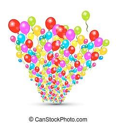 coloridos, vetorial, balões, jogo, isolado, branco, fundo